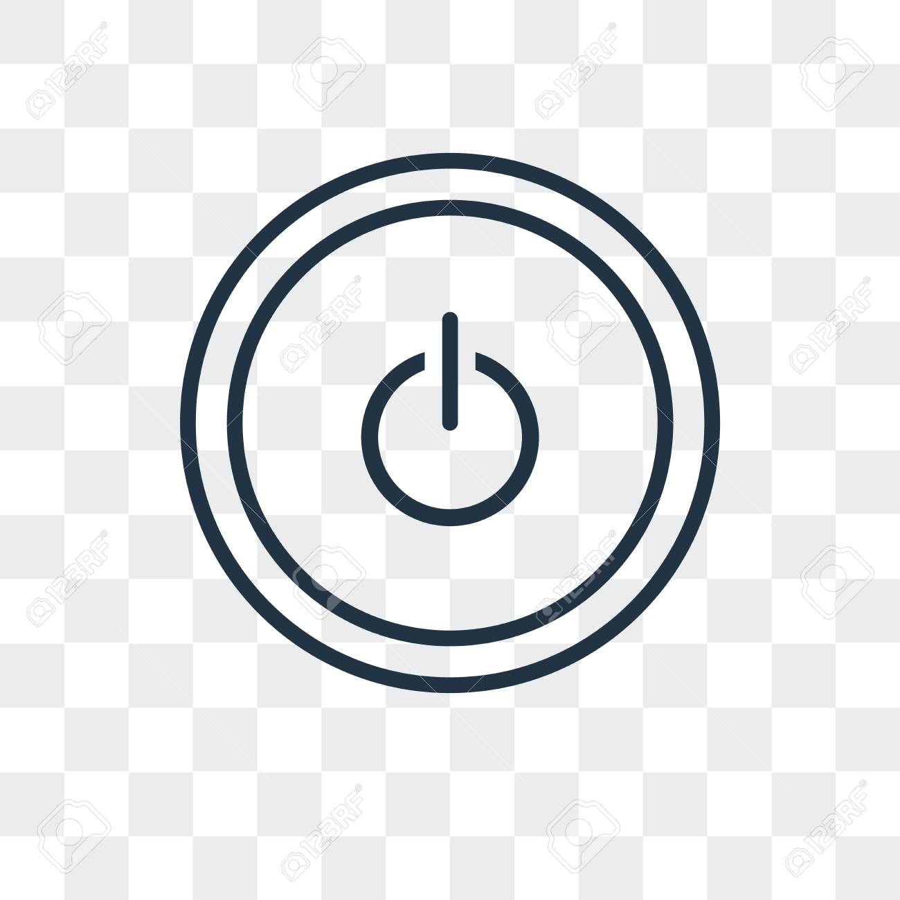 Power button vector icon isolated on transparent background,