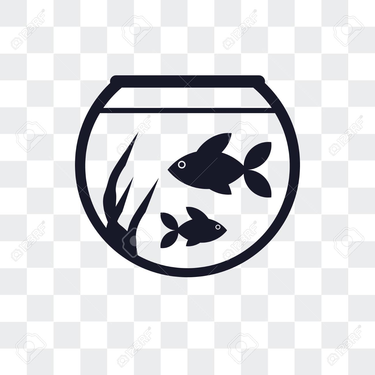 Fish Bowl Vector Icon Isolated On Transparent Background Royalty