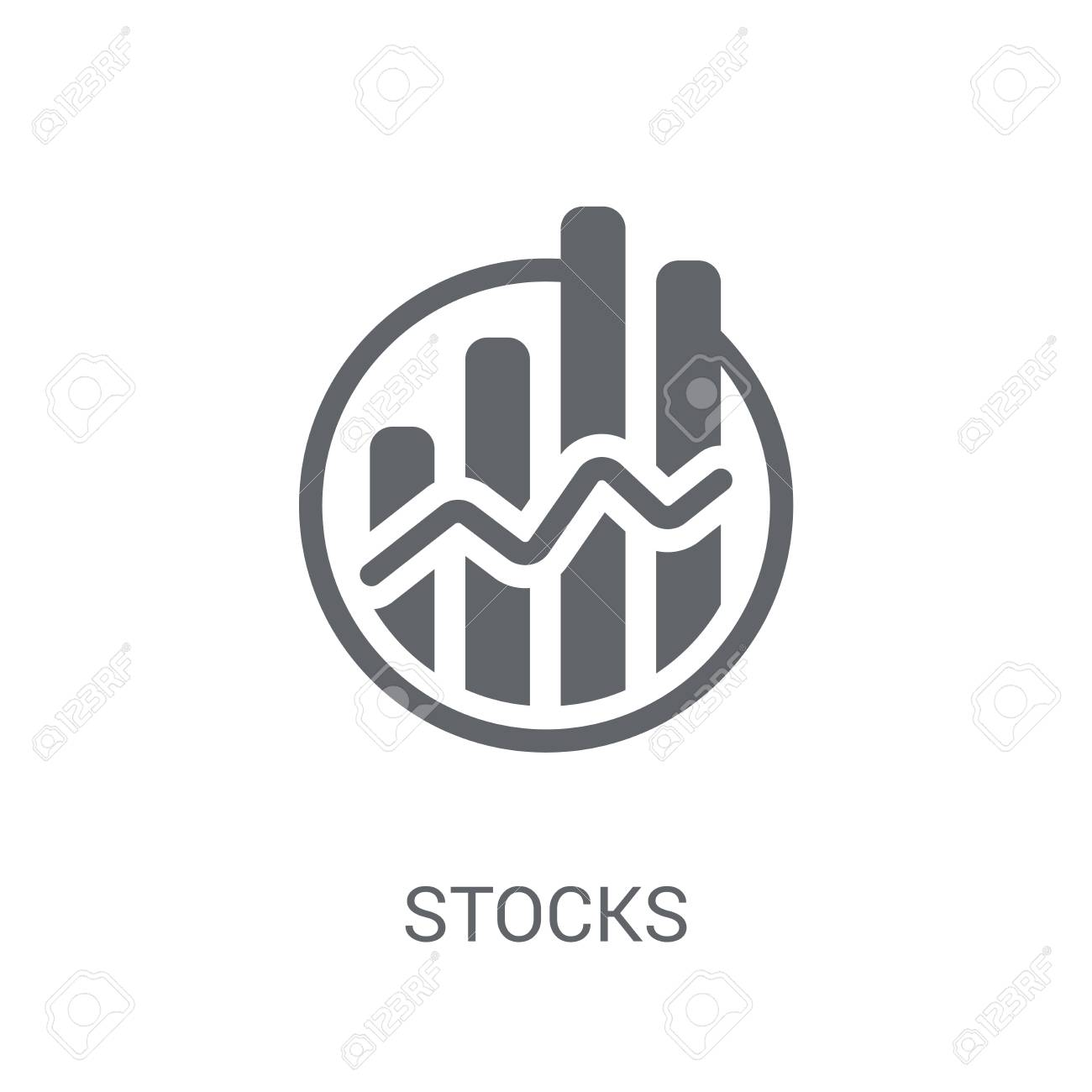 Stocks icon. Trendy Stocks logo concept on white background from Cryptocurrency economy and finance collection. Suitable for use on web apps, mobile apps and print media. - 111989164