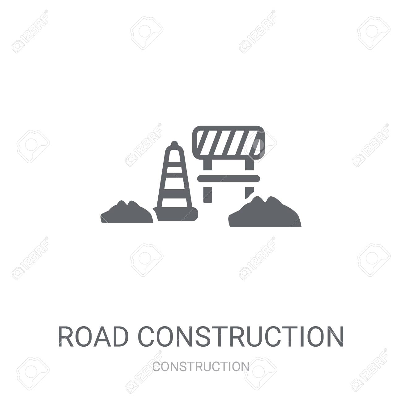 road construction icon. Trendy road construction logo concept on white background from Construction collection. Suitable for use on web apps, mobile apps and print media. - 111988908