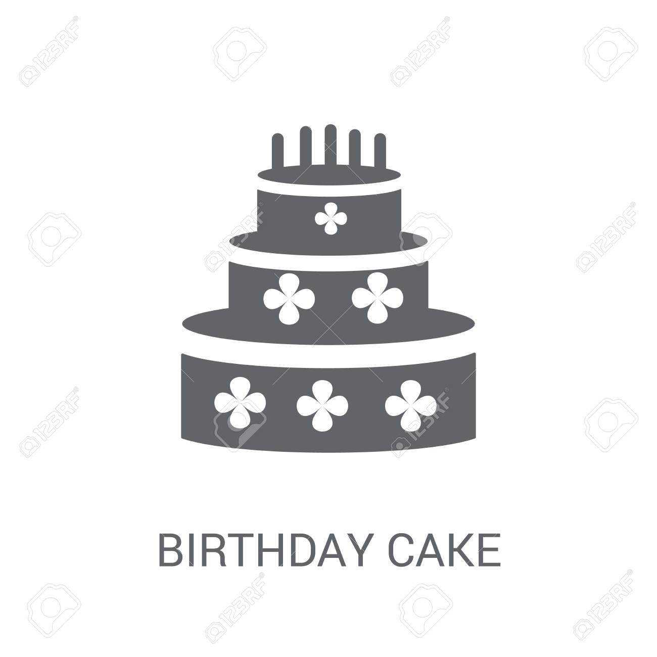 Birthday Cake Icon Trendy Birthday Cake Logo Concept On White
