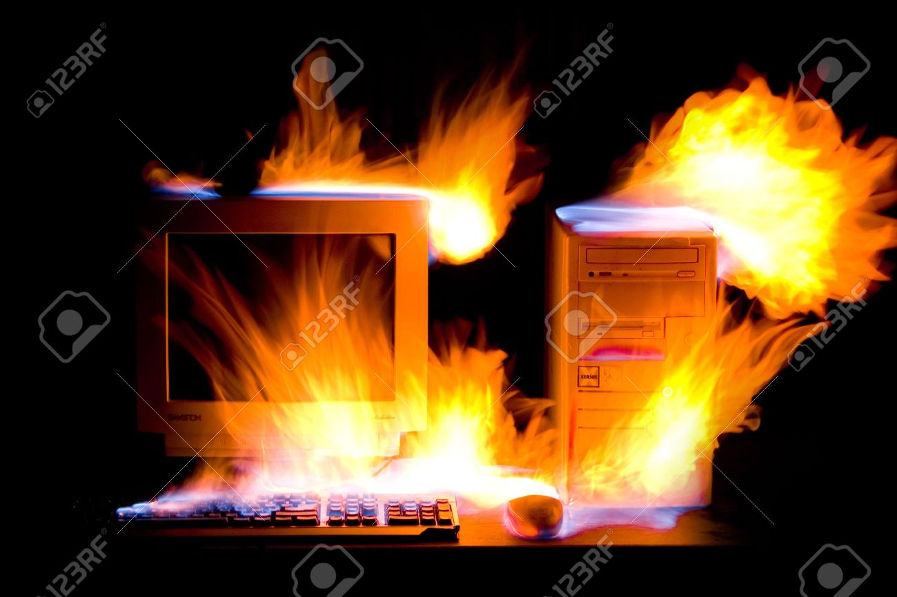 Old hot fire computer in the night Stock Photo - 3289788