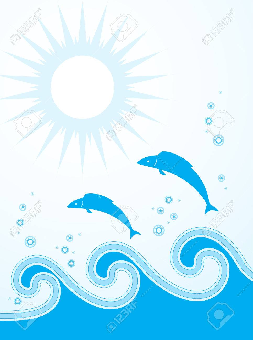 fishes jumping over the waves Stock Vector - 6787298