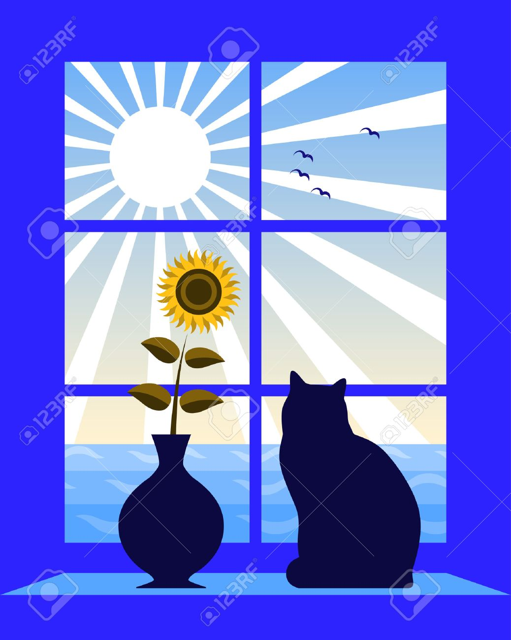 sea and sun outside window Stock Vector - 7416521