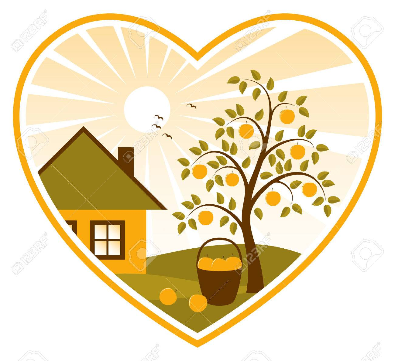 apple tree and cottage in heart on white background Stock Vector - 7704420