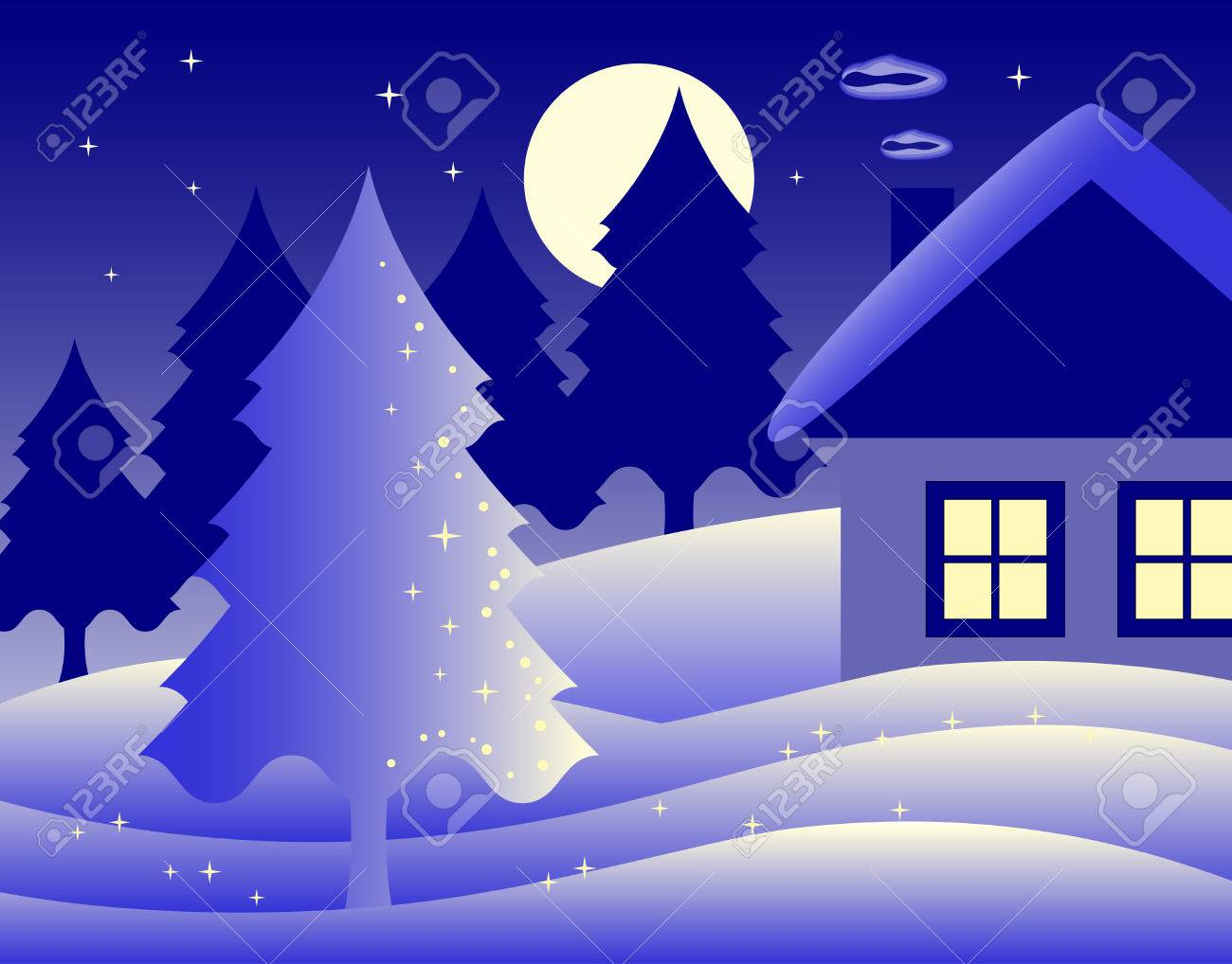 winter landscape with cottage Stock Vector - 8170022