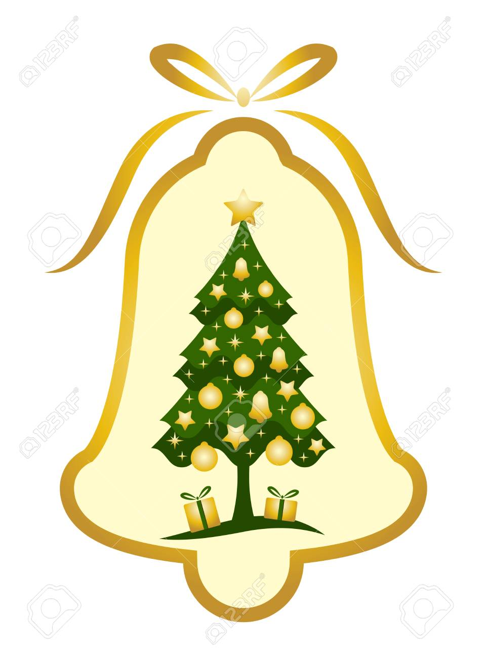 vector Christmas bell with Christmas tree decor on white background Stock Vector - 8244774