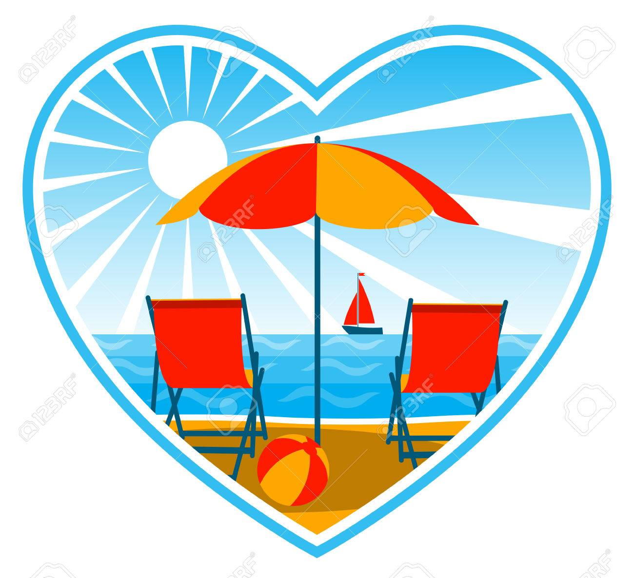 vector deck chairs under umbrella on the beach in heart Stock Vector - 8372170