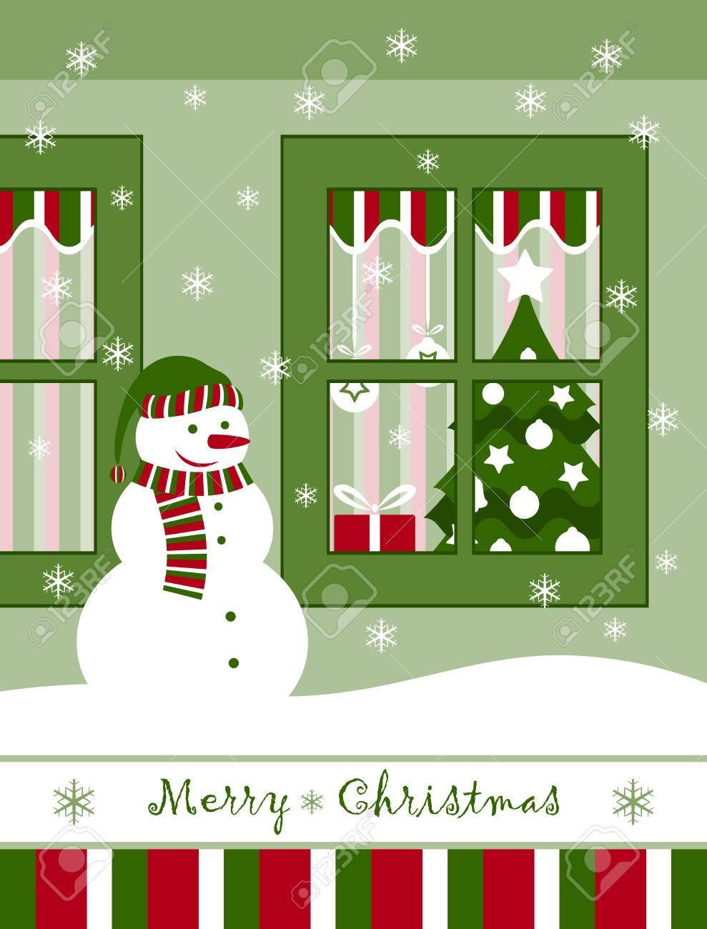 vector snowman and christmas window Stock Vector - 8372168
