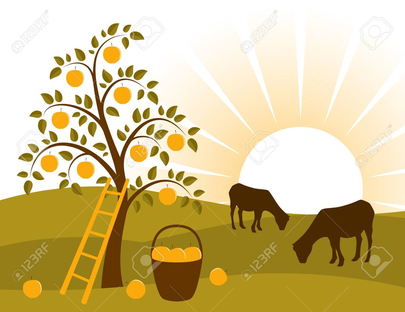 vector background with apple tree and grazing goats Stock Vector - 8440802