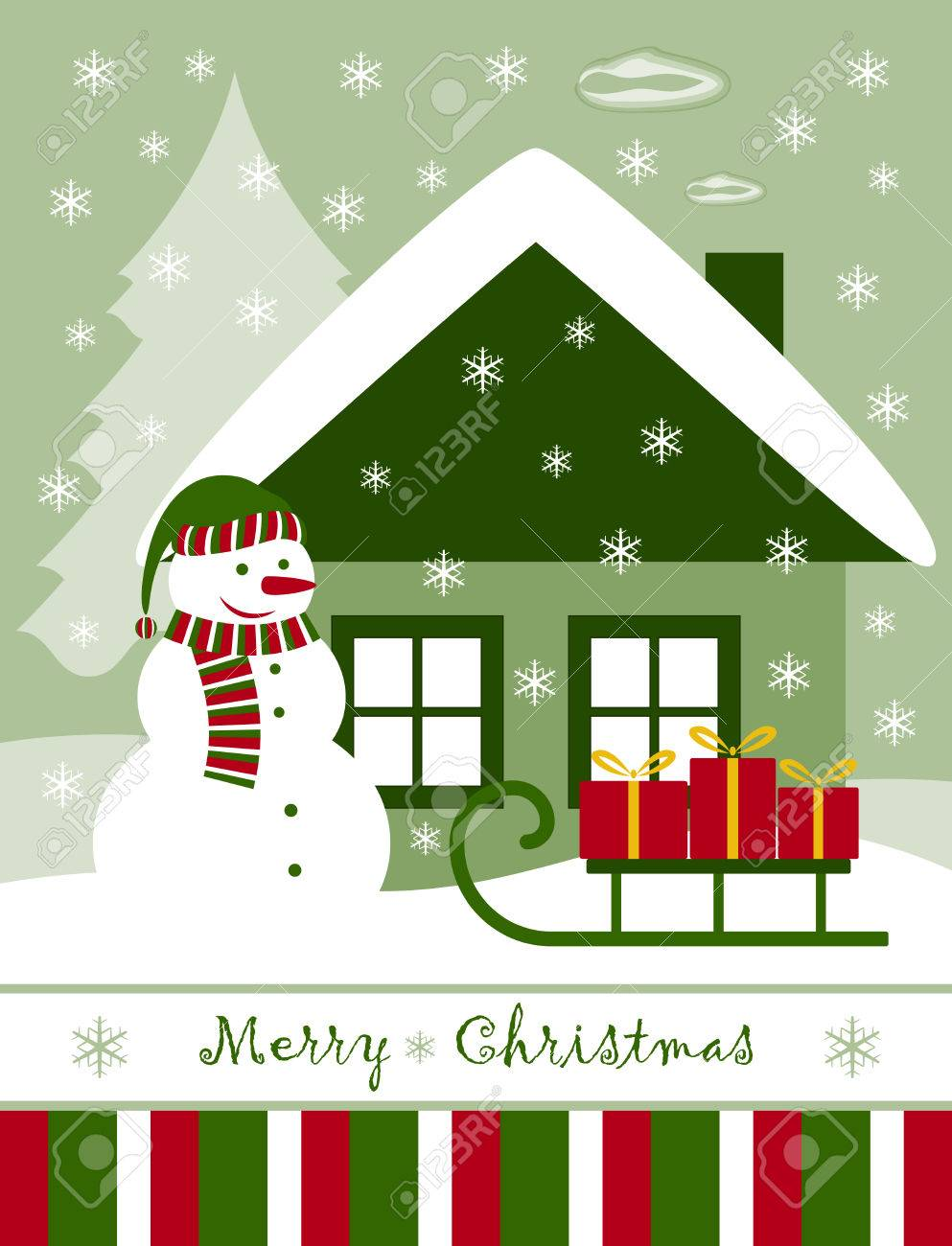 vector Christmas card with snowman, cottage and gifts on sledge Stock Vector - 8454193