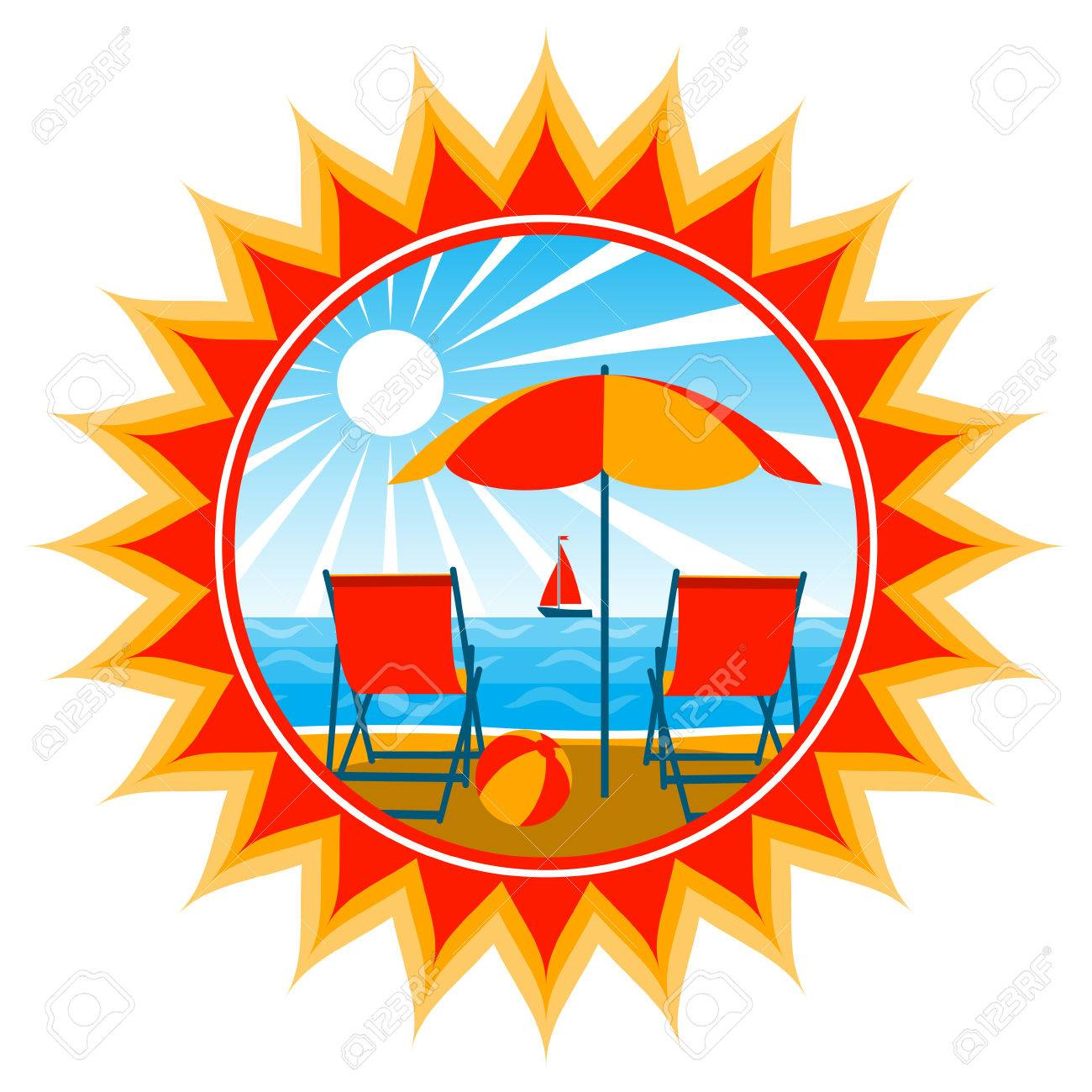 deck chairs under umbrella on the beach Stock Vector - 8457369