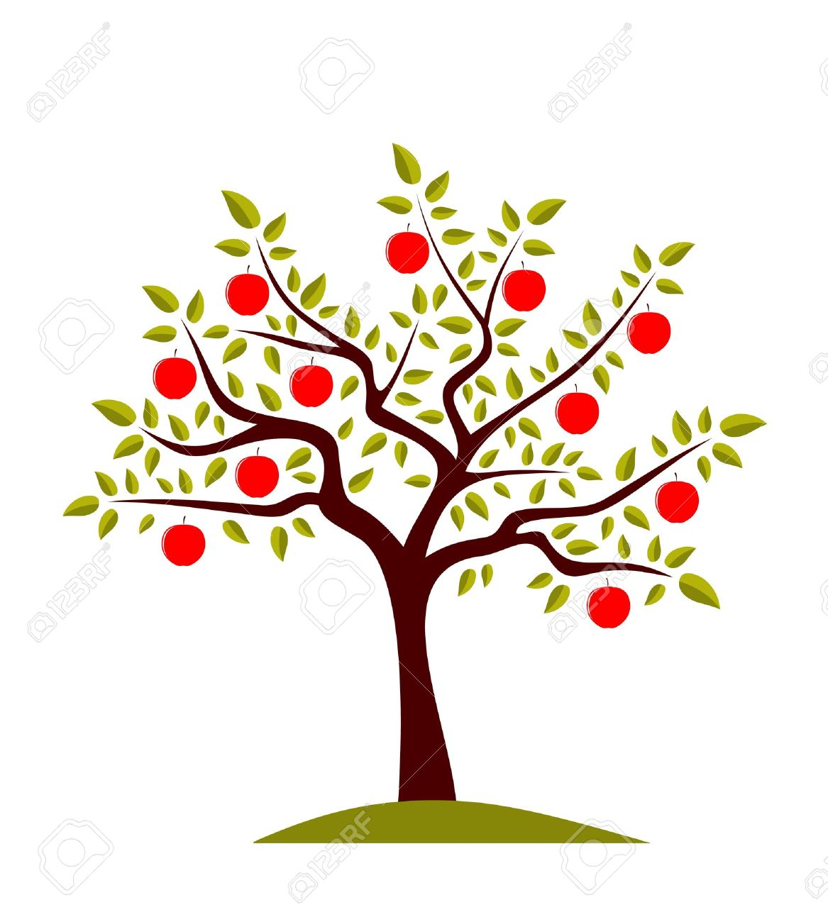 vector apple tree on white background Stock Vector - 8802015