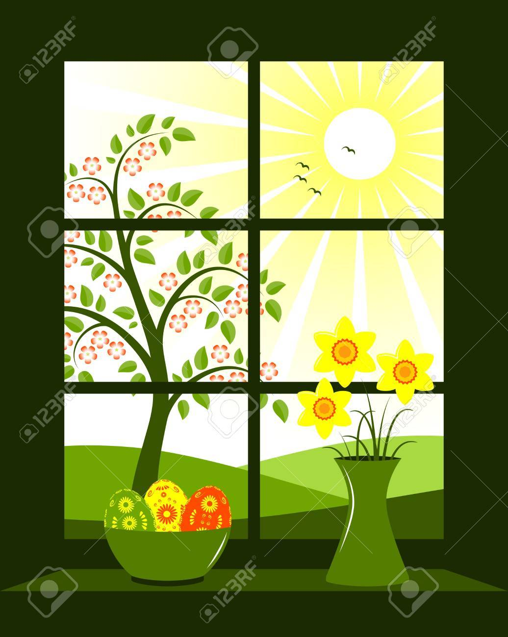 easter eggs in bowl and bunch of daffodils in vase at window Stock Vector - 8976472