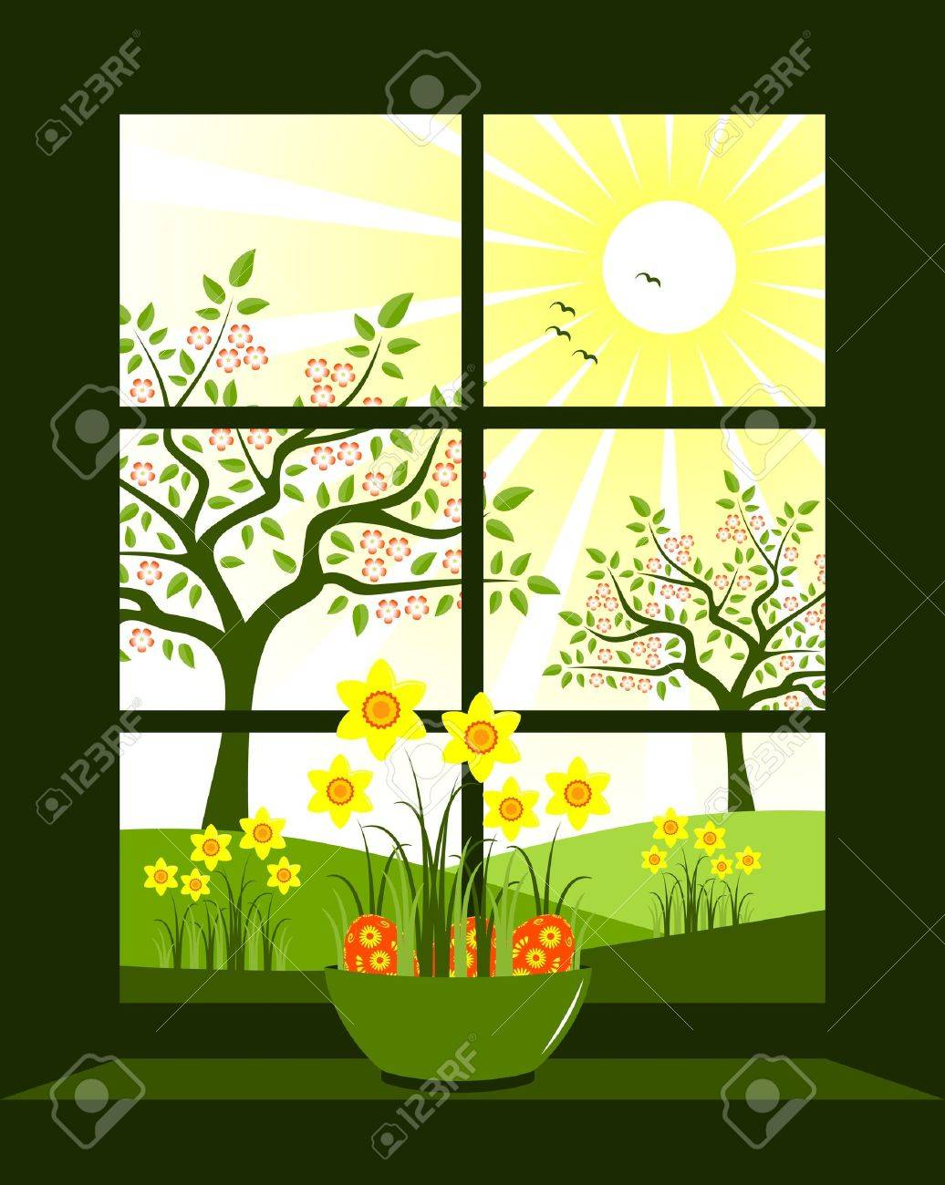 easter eggs and daffodils in bowl at window Stock Vector - 9123407