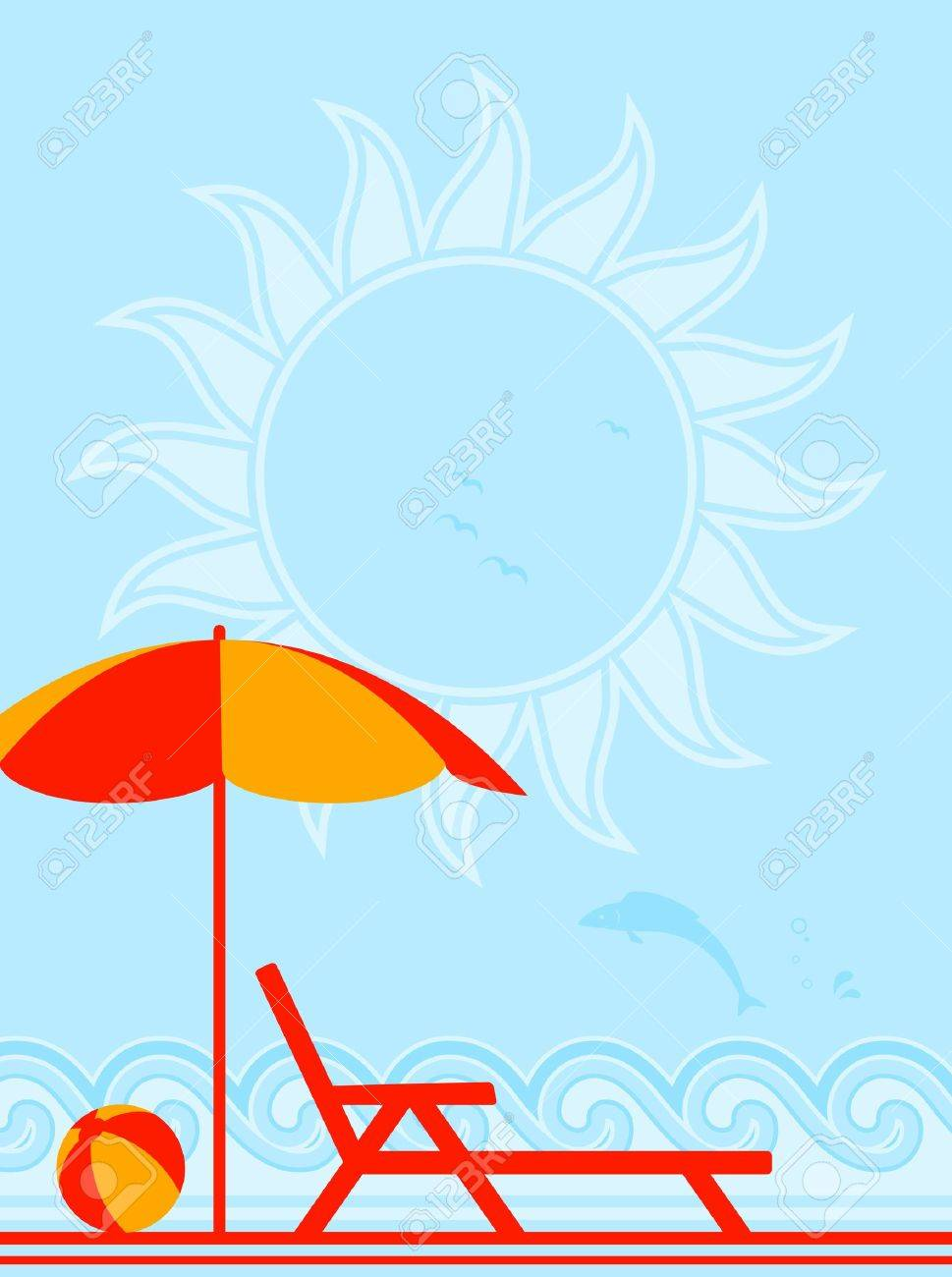background with deck chair under umbrella on the beach Stock Vector - 9402981