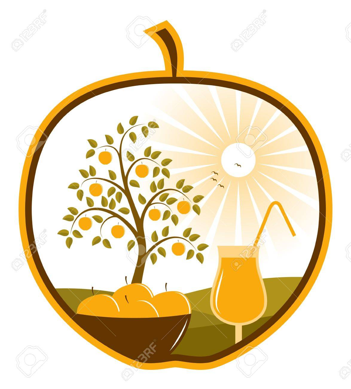 bowl of apples and apple juice in apple Stock Vector - 9811139