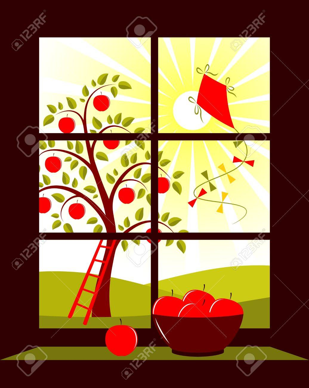 apple tree and kite outside the window Stock Vector - 9923403