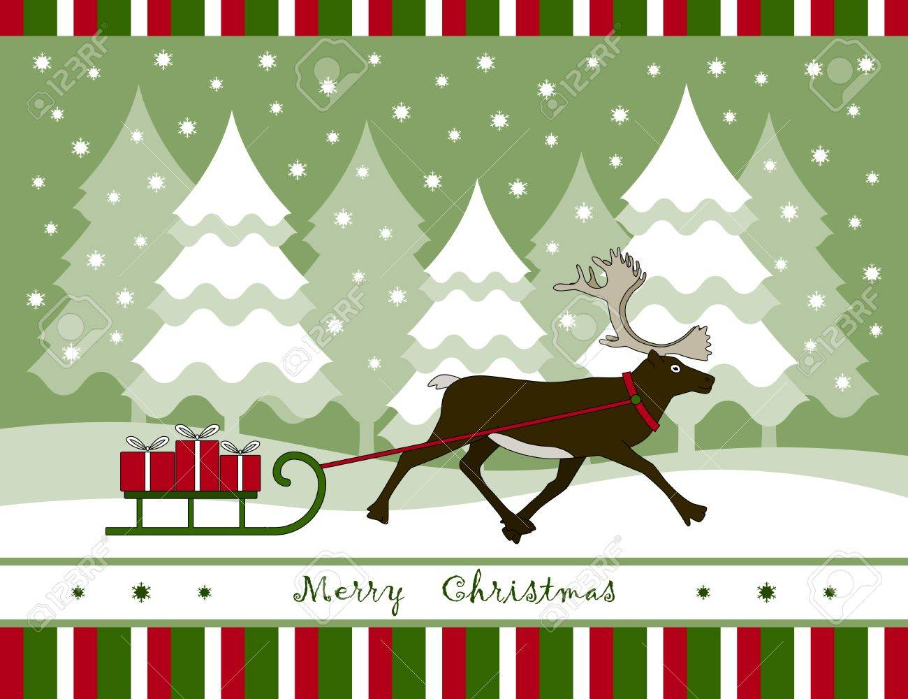vector christmas card with reindeer pulling sledge with gifts Stock Vector - 11028034