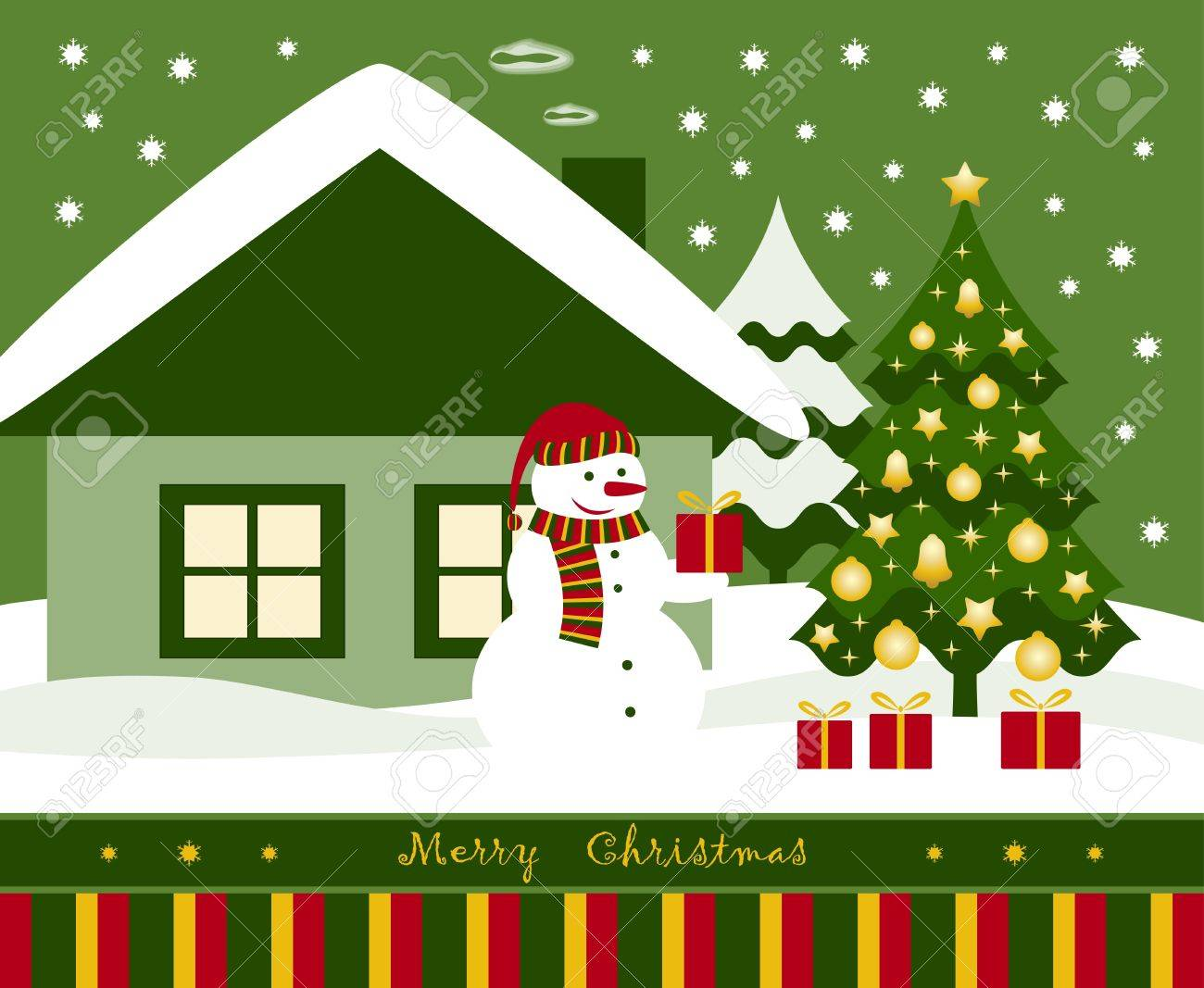 vector snowman, Christmas tree and gifts in front of house Stock Vector - 11210537