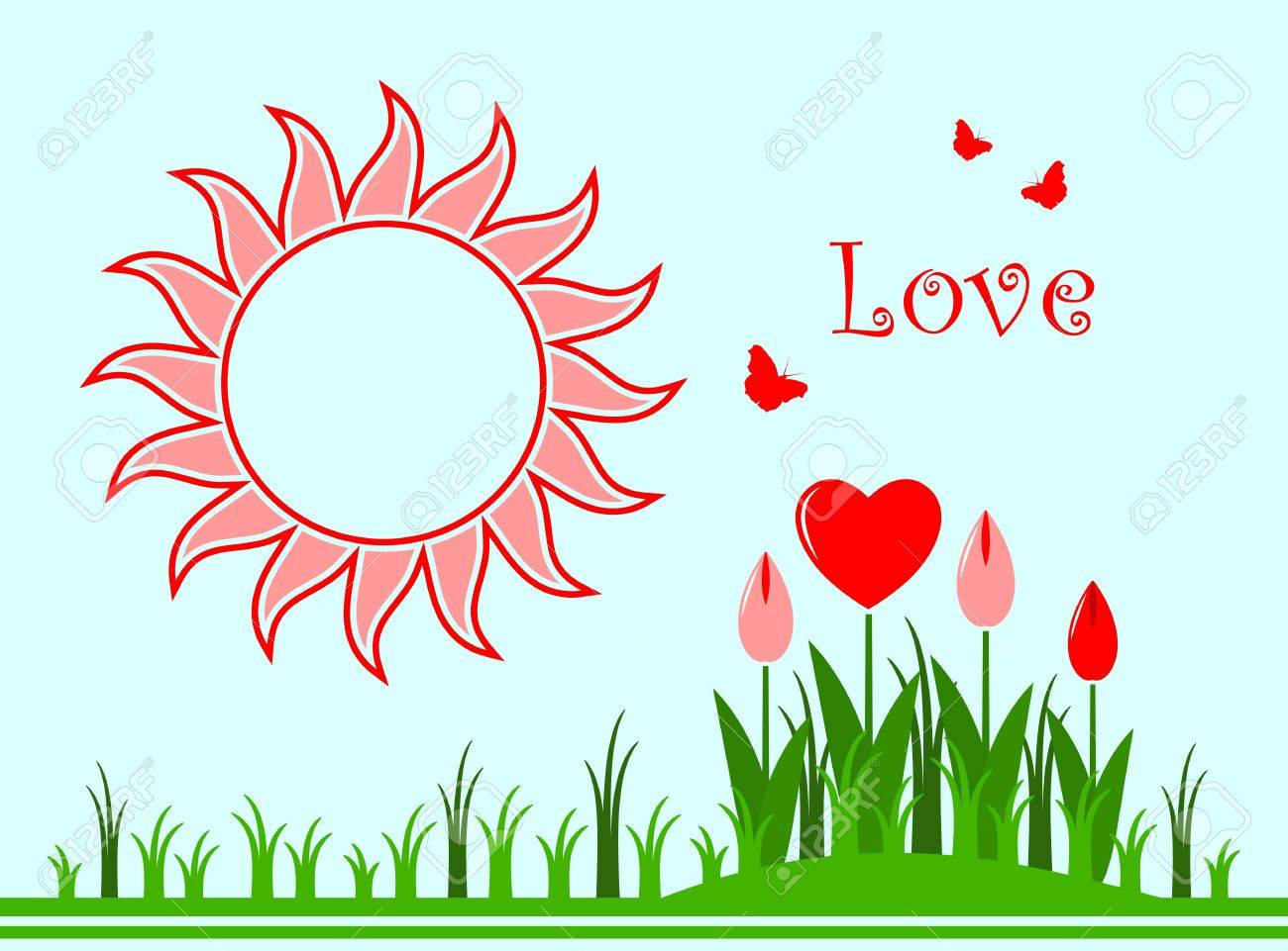 vector background with heart flowers in grass, sun and butterflies Stock Vector - 11765152