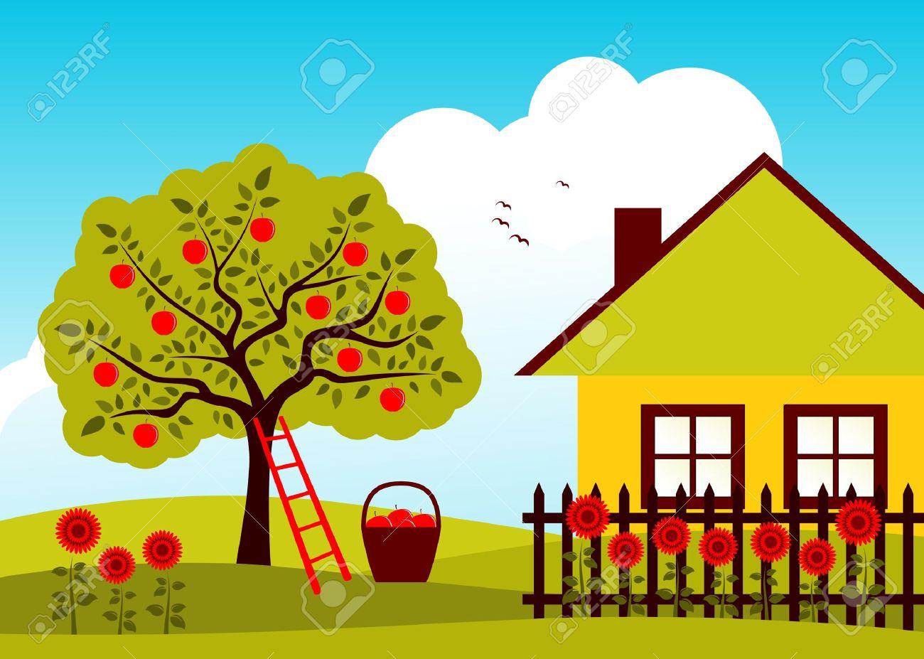 äppelträd och stuga med staketet royalty fri clipart, vektorer och ...