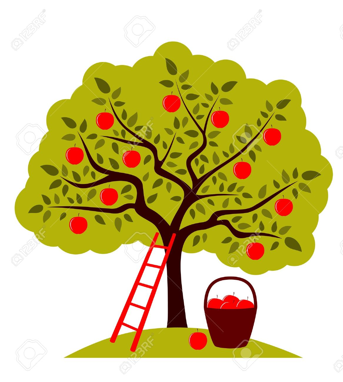 vector apple tree, ladder and basket of apples Stock Vector - 12943050