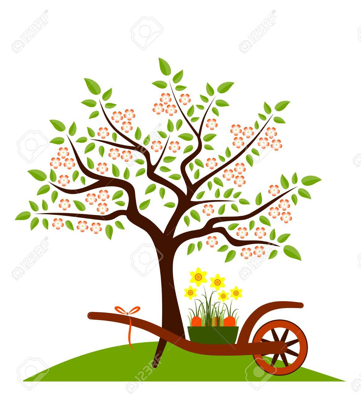 flowering tree and hand barrow with daffodils and easter eggs isolated on white background Stock Vector - 14815485