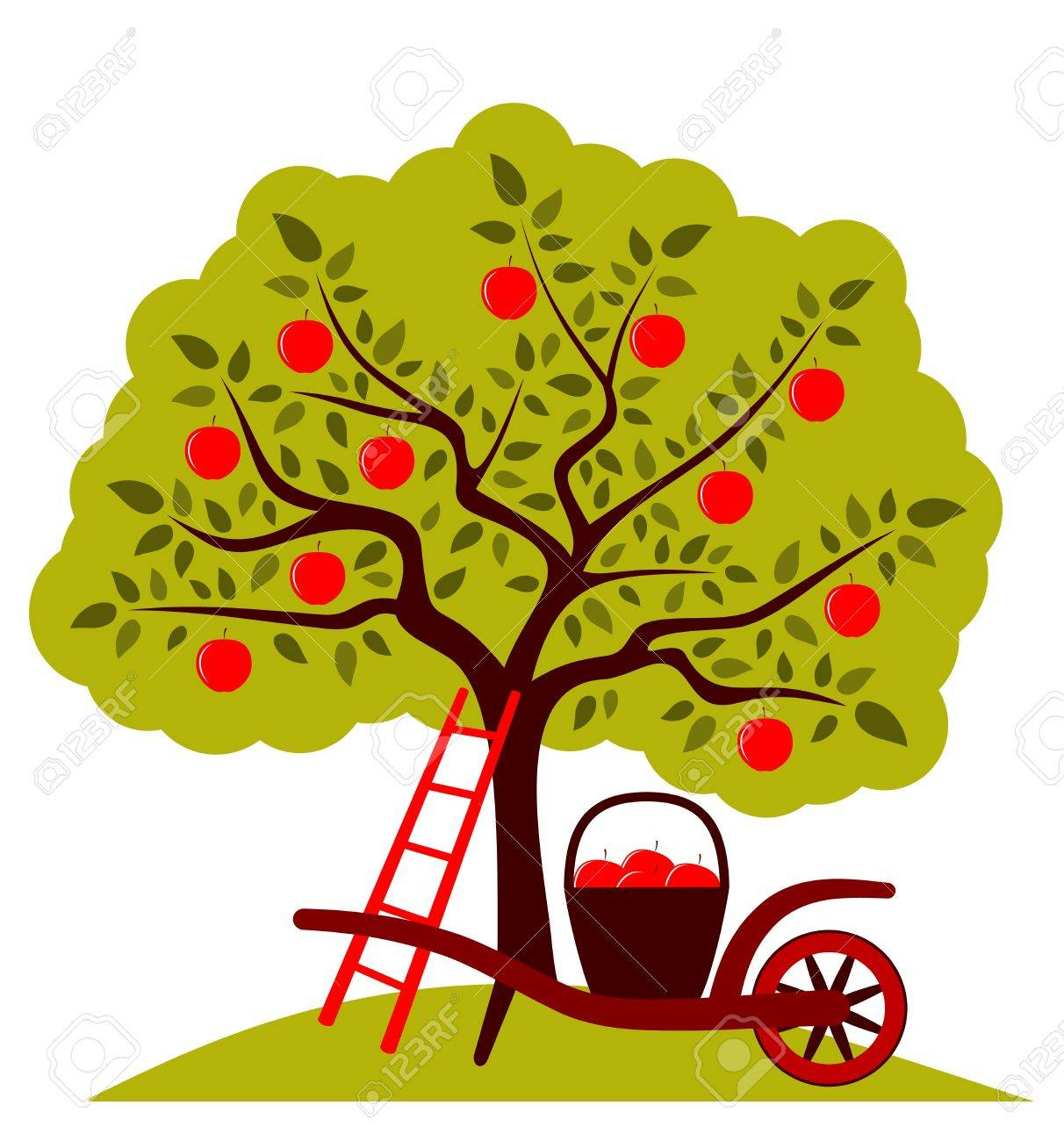 apple tree and hand barrow with basket of apples isolated on white background Stock Vector - 15249251