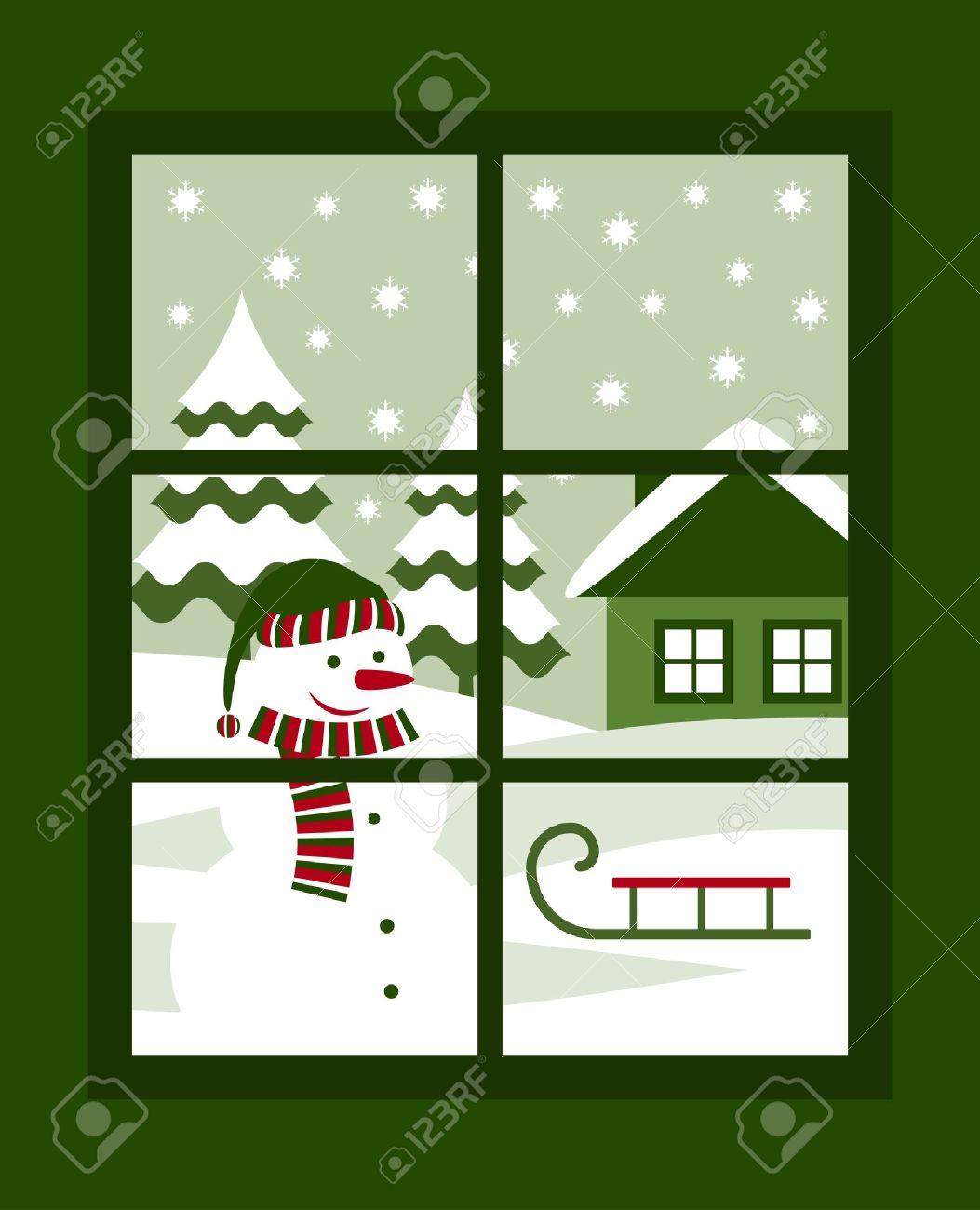 winter landscape outside the window Stock Vector - 15249248