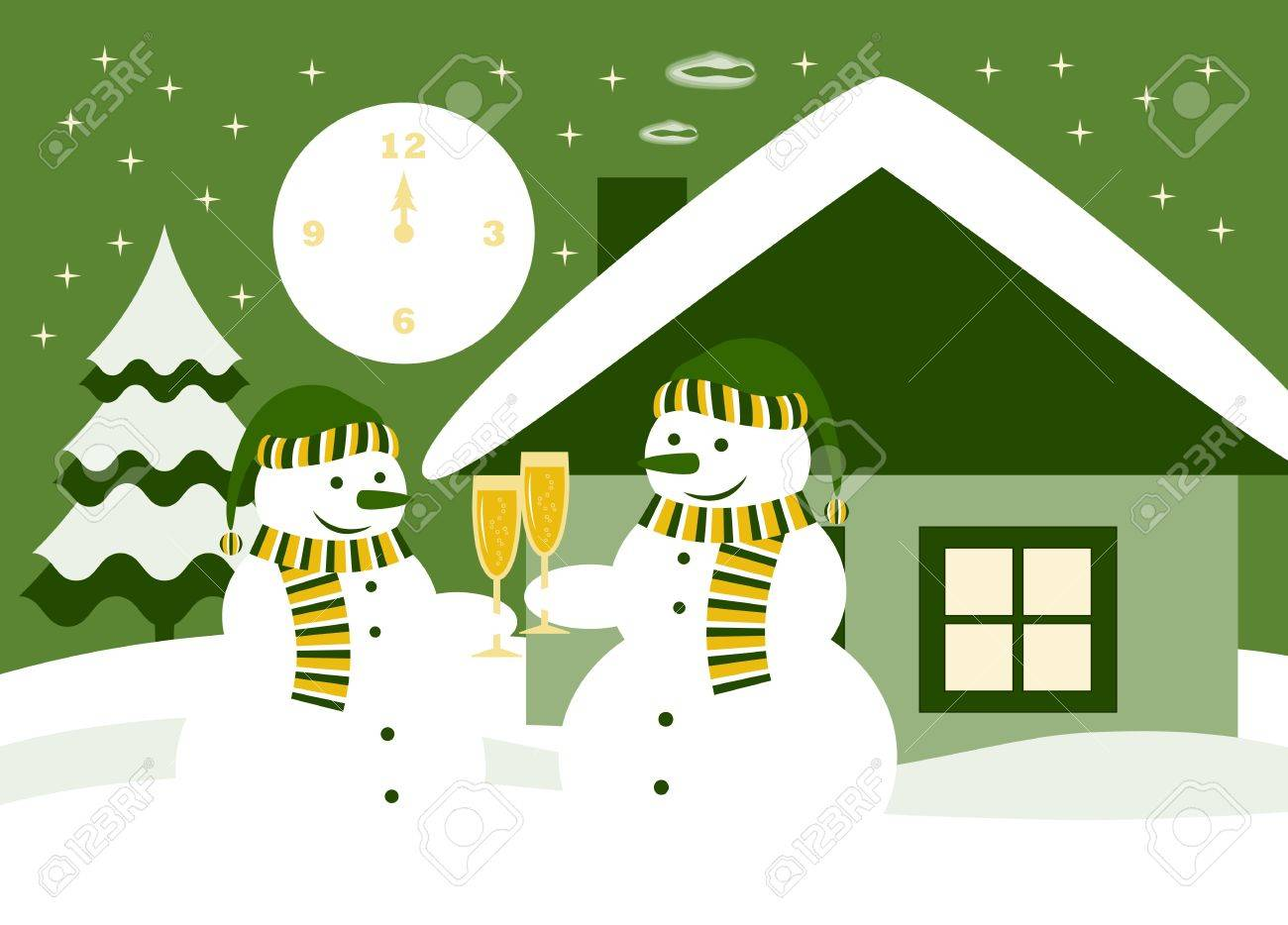 vector pair of snowmen with glasses of champagne Stock Vector - 17032452