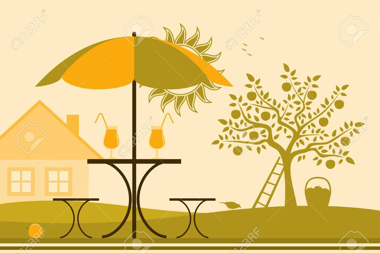 vector table and chairs with umbrella in garden Stock Vector - 19051463