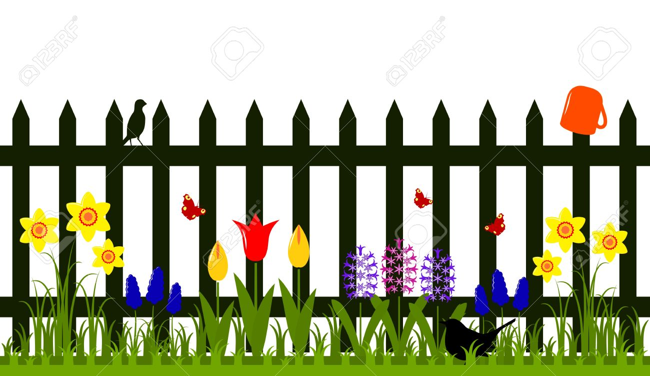 Vector Picket Fence With Spring Flowers Isolated On White Background