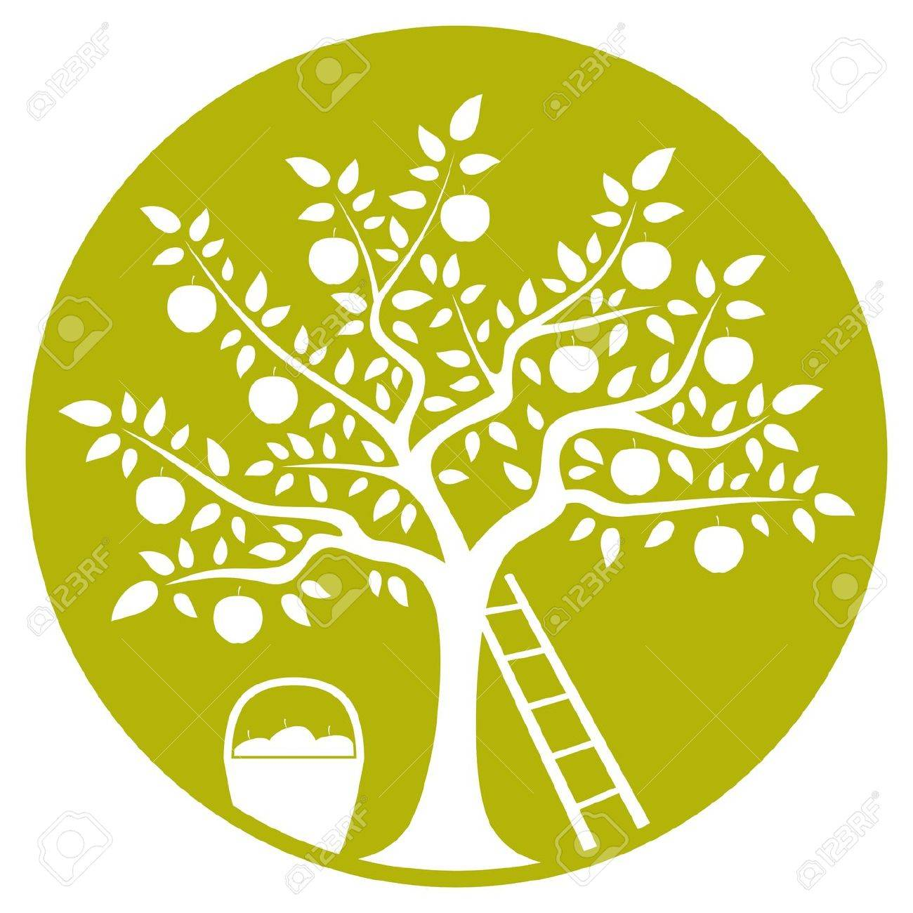 apple tree, ladder and basket of apples isolated on green round Stock Vector - 21409636