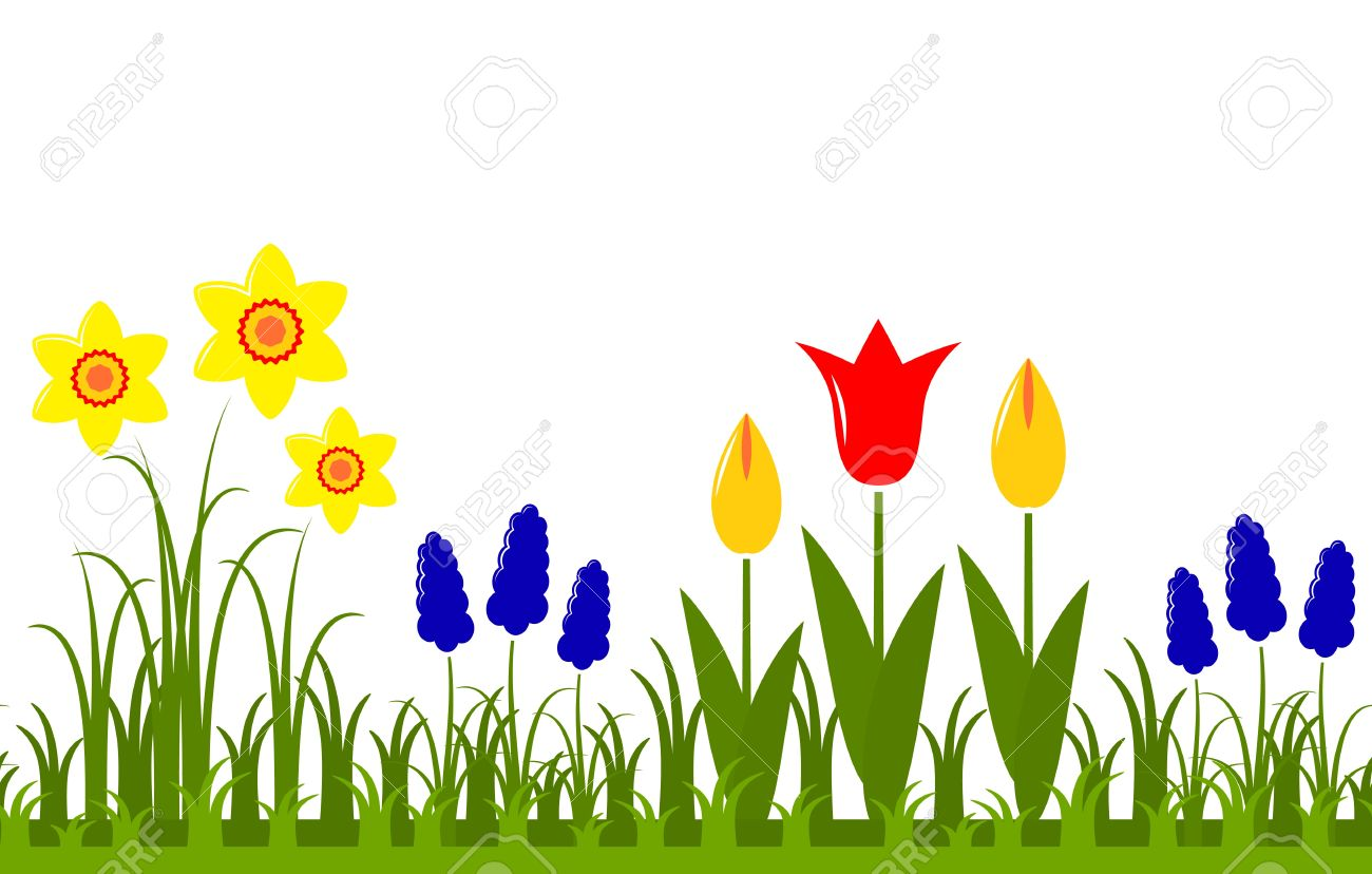 Seamless Spring Flowers Border Isolated On White Background Royalty