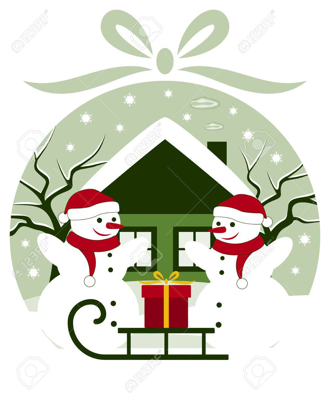 vector pair of snowmen and sledge with gift in christmas ball Stock Vector - 24472955