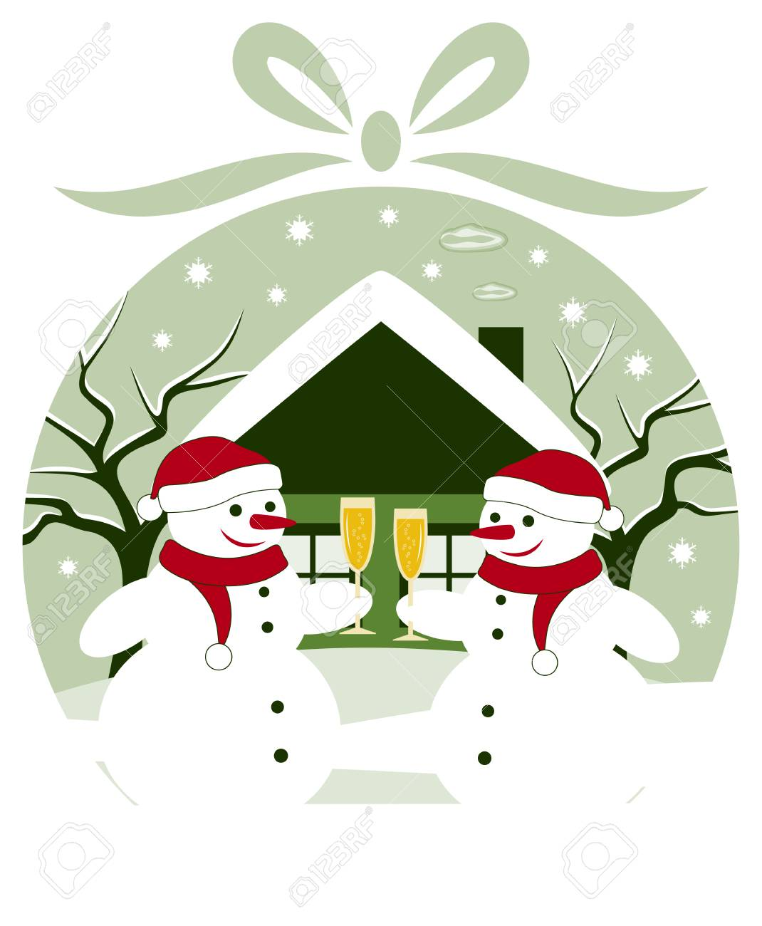 vector pair of snowmen with glasses of champagne in christmas ball Stock Vector - 24472959