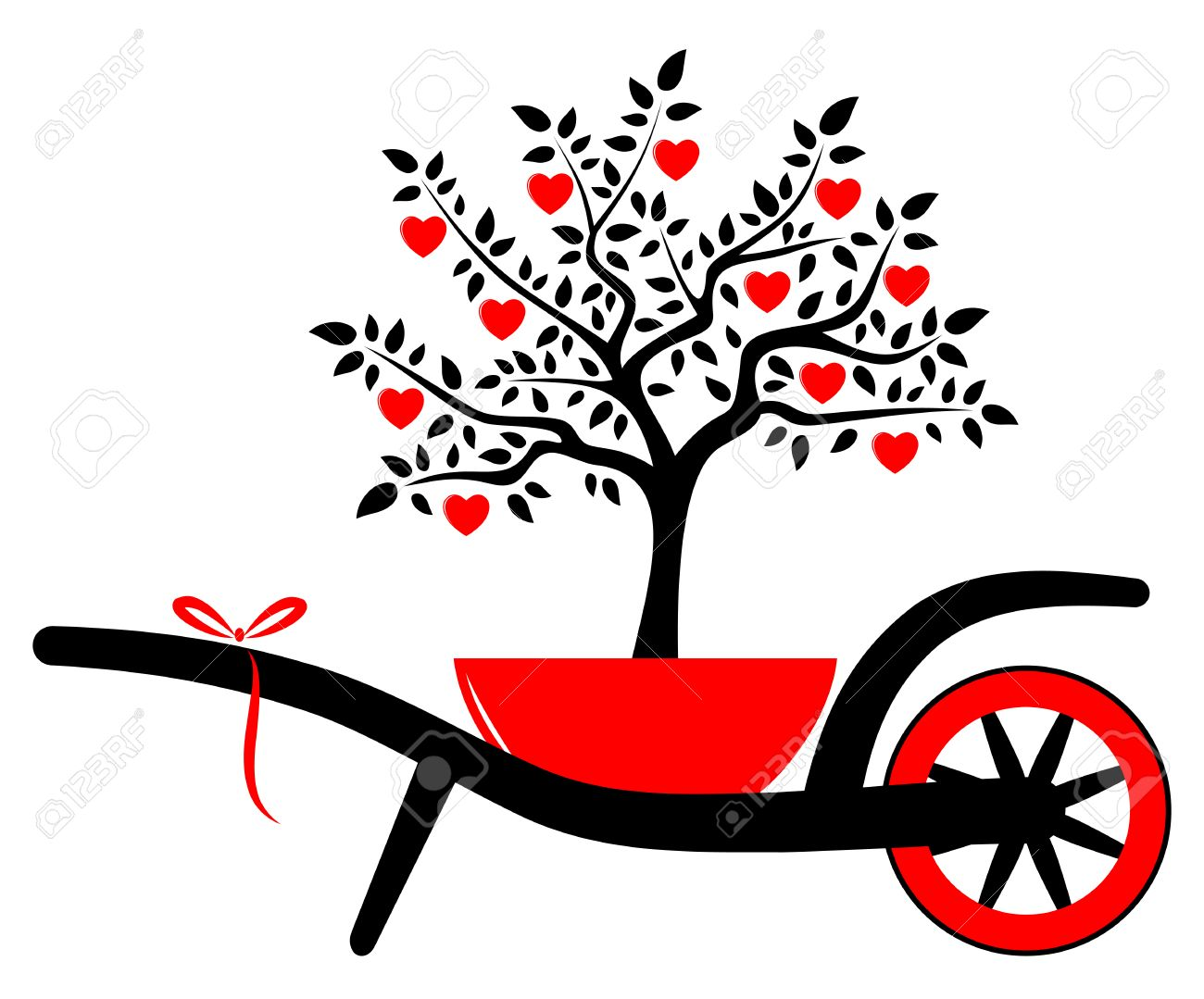 vector wheel barrow and heart tree in pot isolated on white background Stock Vector - 24527934