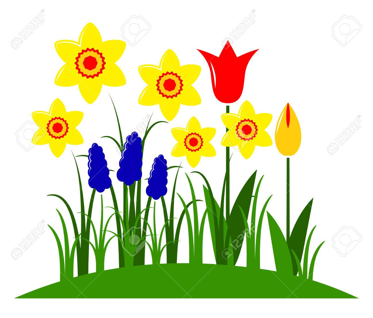 Vector Spring Flowers Isolated On White Background Royalty Free Cliparts Vectors And Stock Illustration Image 25327634