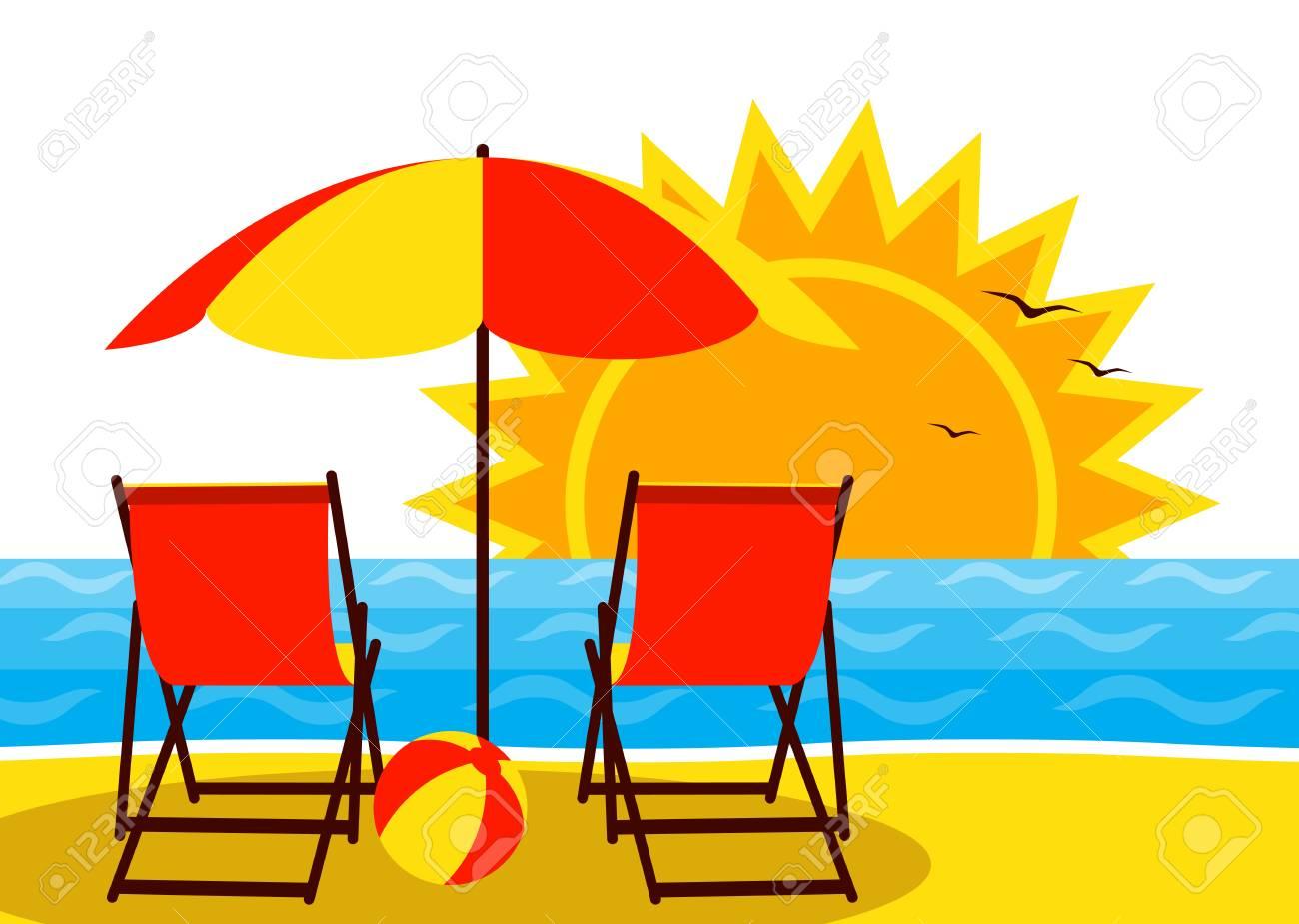 Sonnenschirm strand clipart  Vektor-Liegestühle Unter Sonnenschirm Am Strand Und Sonnenuntergang ...