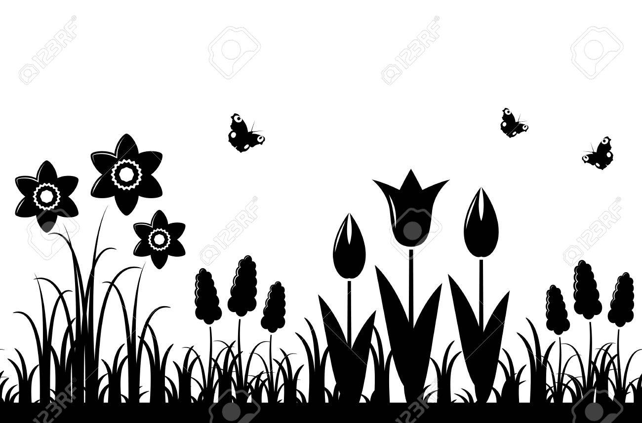Vector Seamless Spring Flowers Border Isolated On White Background Stock