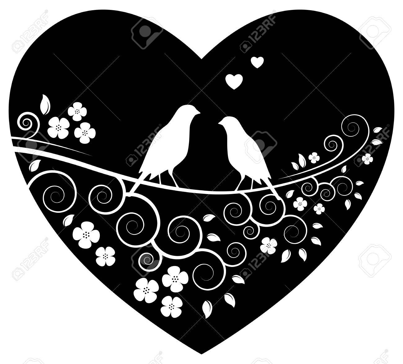 Love Birds On Flowering Branch In Heart Isolated On White Background Royalty Free Cliparts Vectors And Stock Illustration Image 32557298