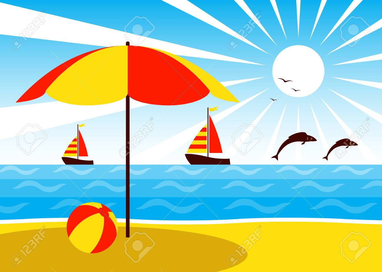 Sonnenschirm strand clipart  Vector Umbrella On The Beach, Sailboats And Fishes Jumping Over ...