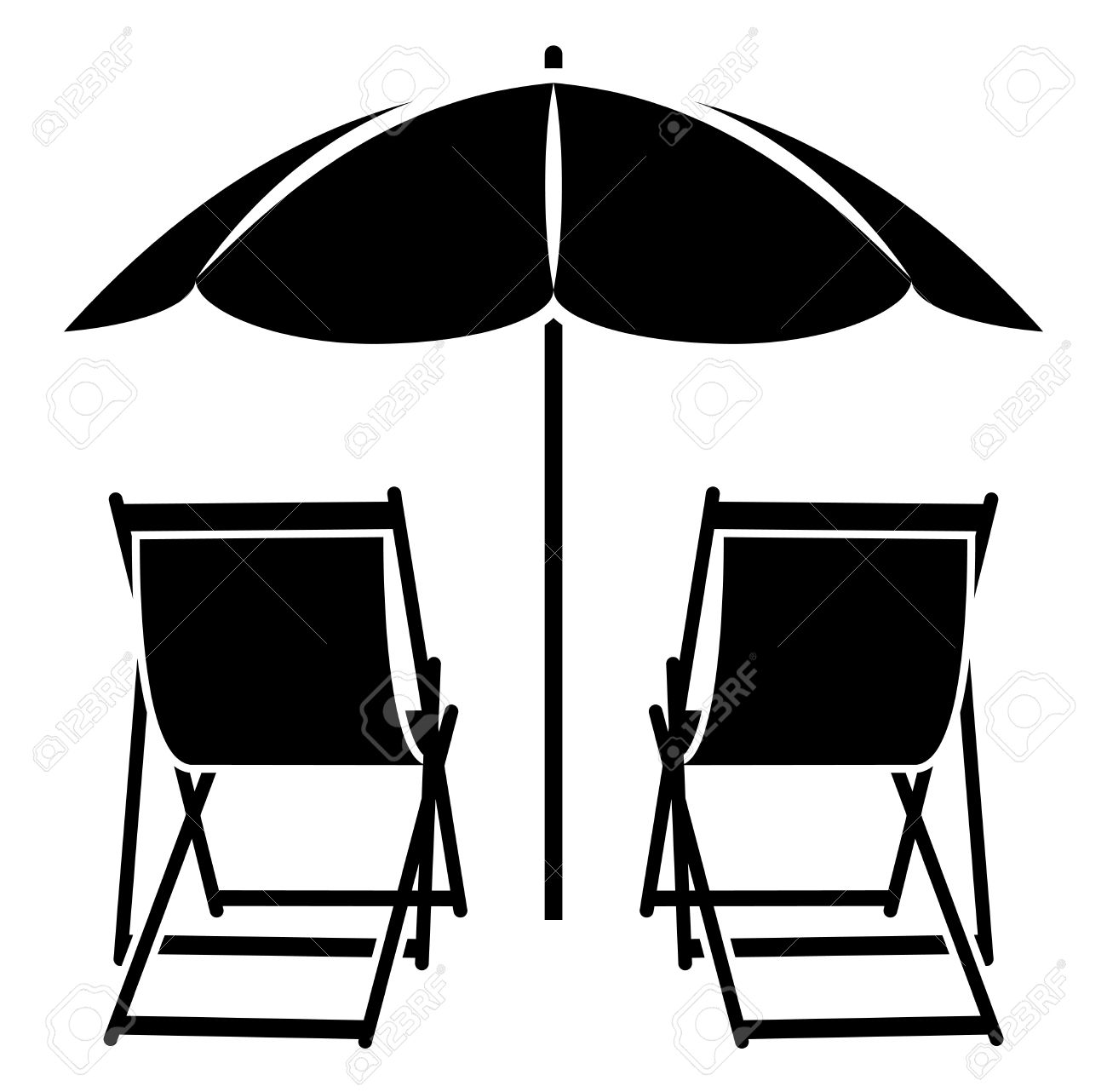 Chair beach umbrella and chair black and white - Vector Deck Chairs Under Beach Umbrella Isolated On White Background Stock Vector 46530057