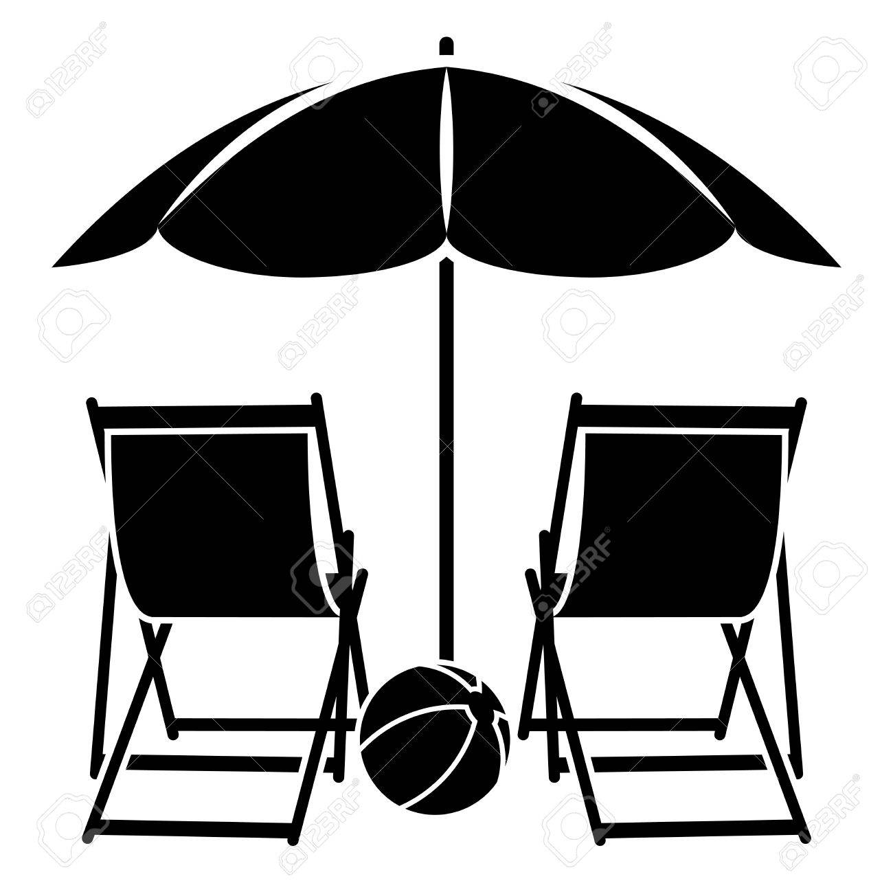 Vector vector deck chairs under beach umbrella isolated on white background