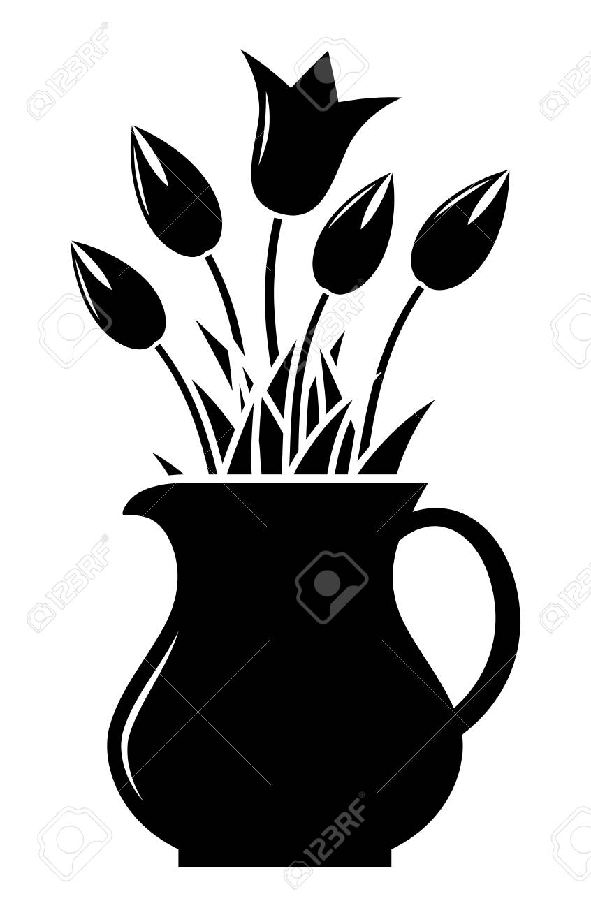 vector tulips in pitcher isolated on white background - 50565980