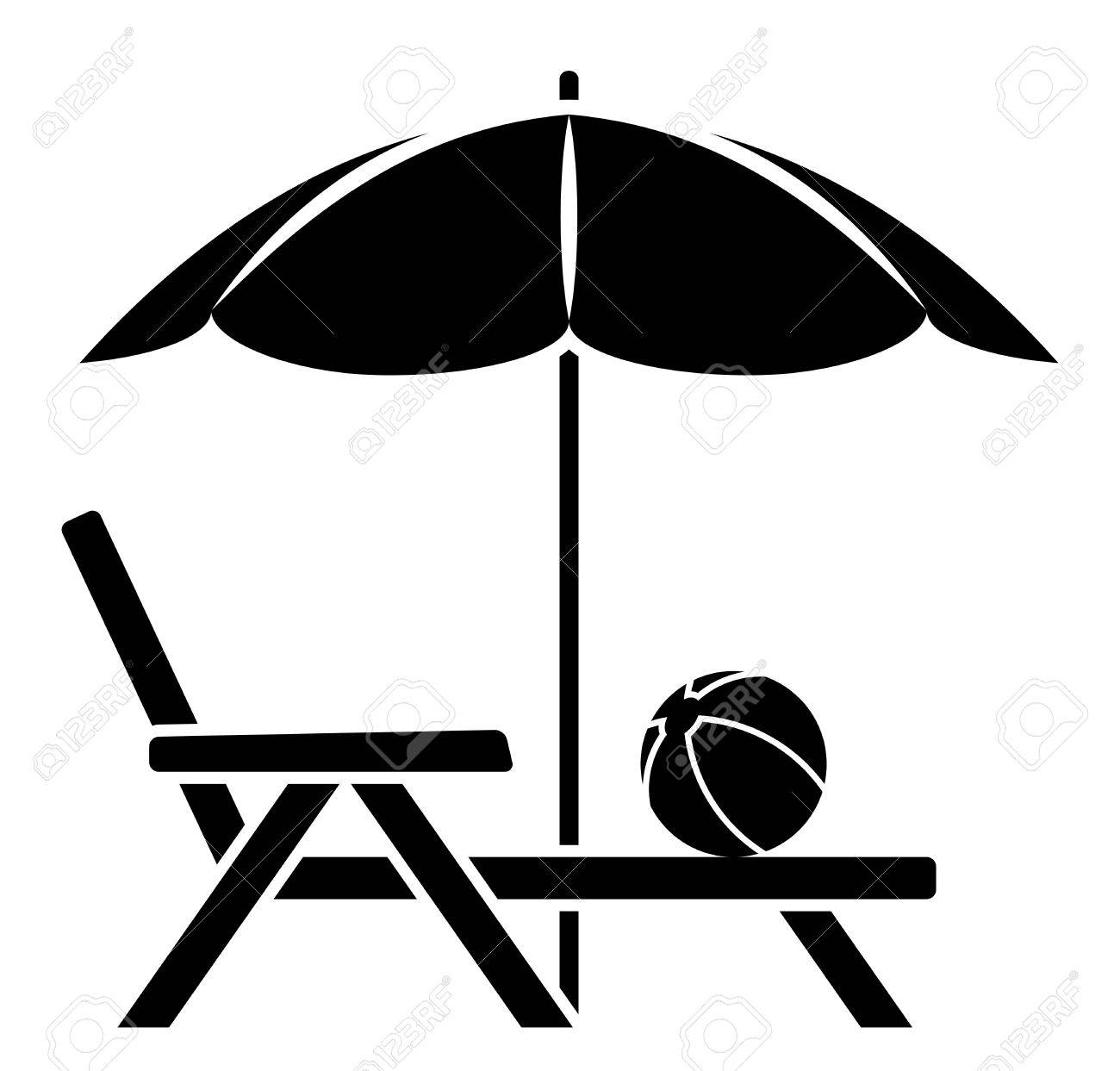Chair beach umbrella and chair black and white - Vector Deck Chair Under Beach Umbrella Isolated On White Background Stock Vector 52191995