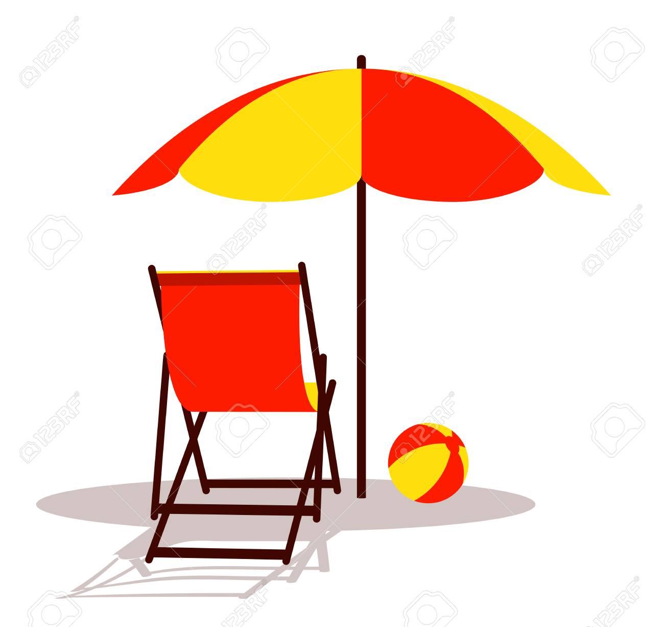 Vector Deck Chair And Beach Ball Under Beach Umbrella Isolated