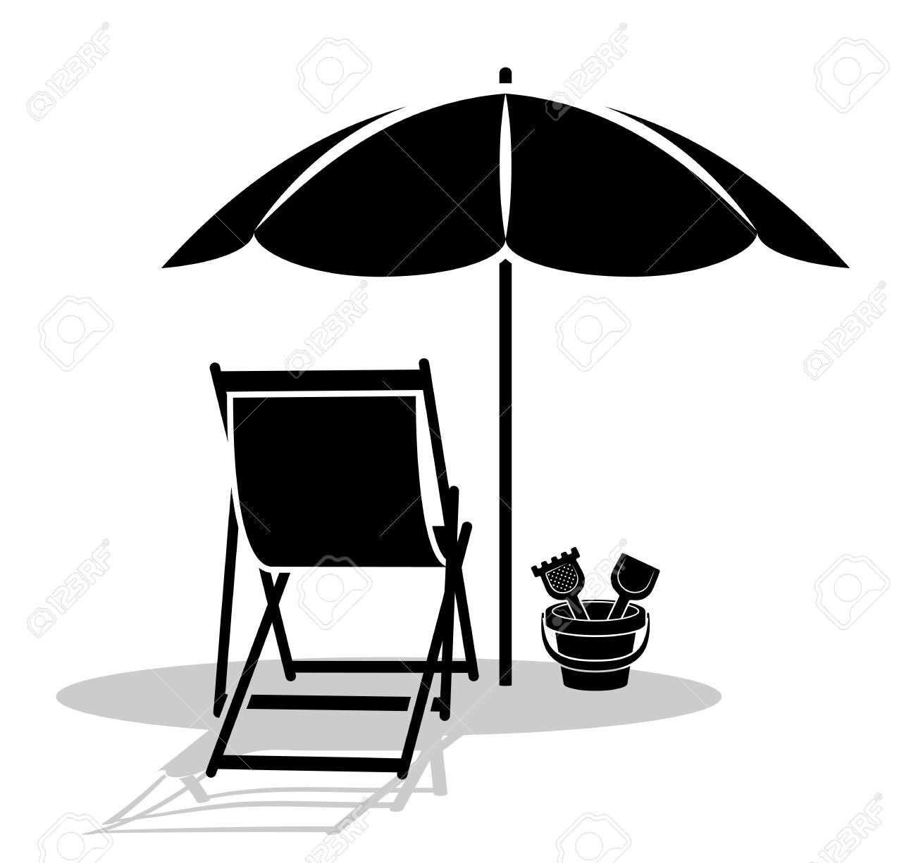 Magnificent A Vector Deck Chair And Sand Bucket Under Beach Umbrella Isolated Gmtry Best Dining Table And Chair Ideas Images Gmtryco
