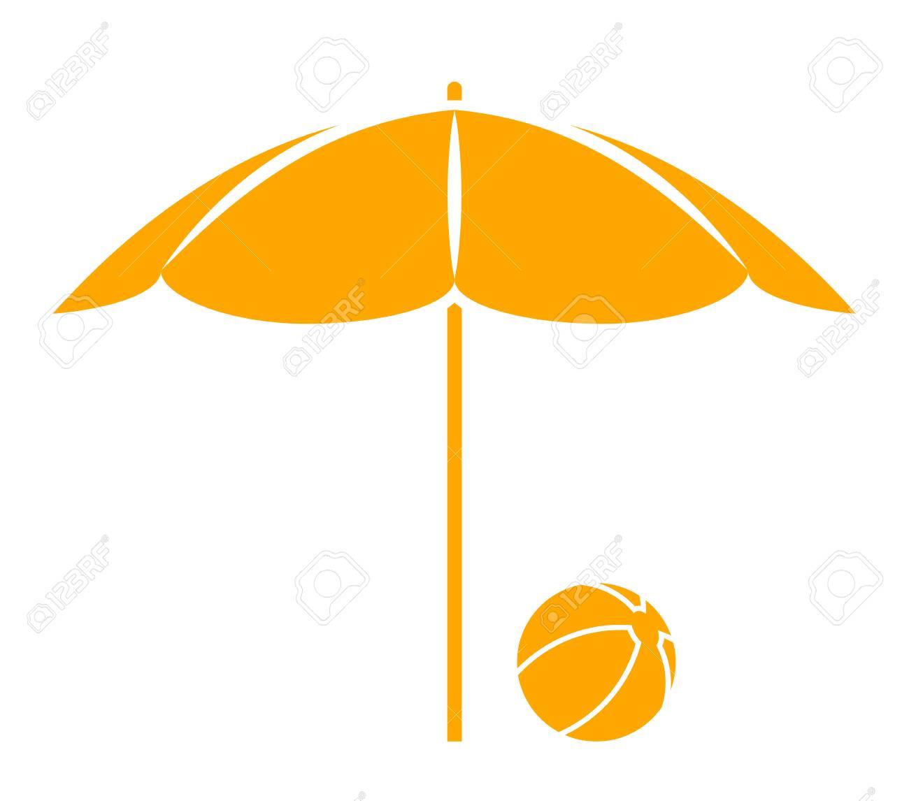 Beach Ball Under Beach Umbrella Isolated On White Background Royalty